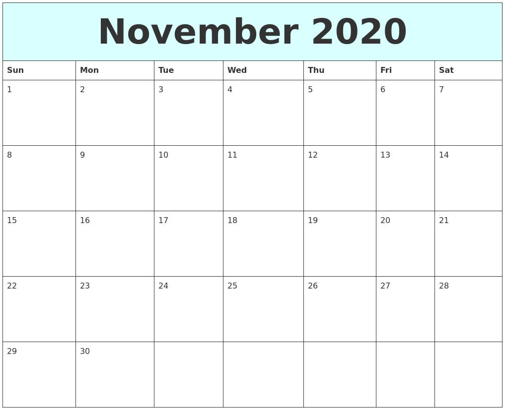 Start Calendar November November 2017 Printable Calendar Printable Calendar October 2020 My Calendar