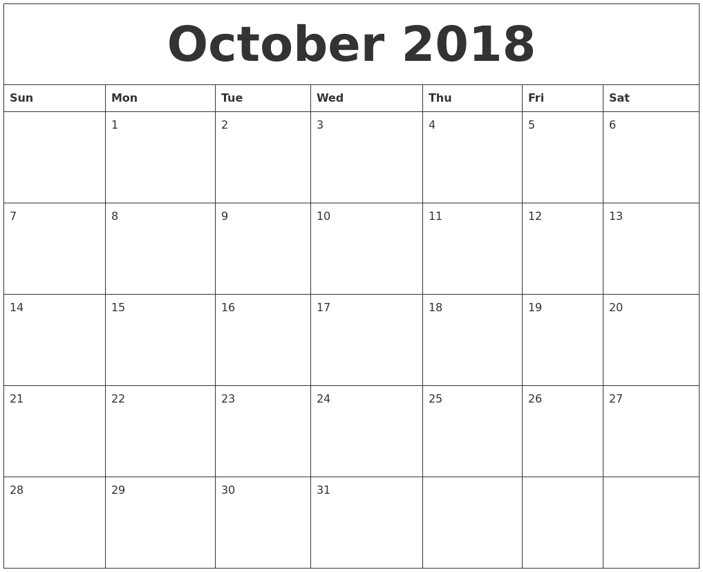 October Calendar Month The Month Of October Time And Date January 2019 Calendar Month