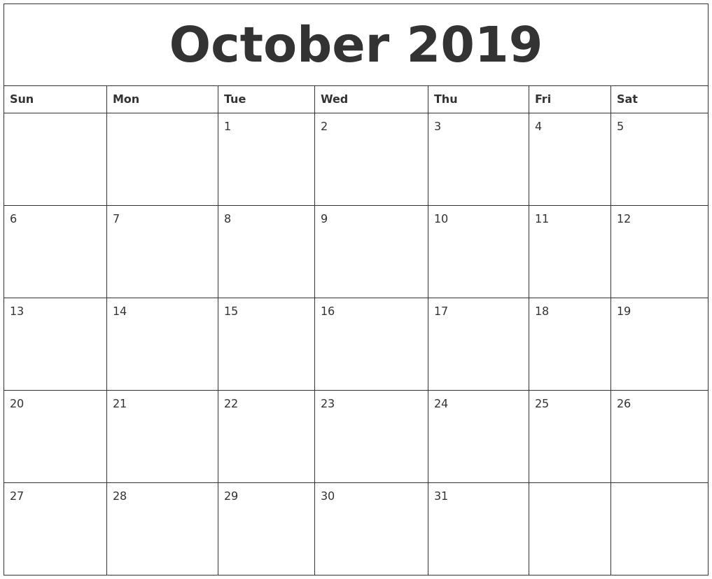 Calendar For 2019 Free 2019 Word Calendar Blank And Printable Calendar October 2019 Calendar