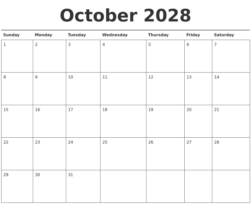 october printable calendars
