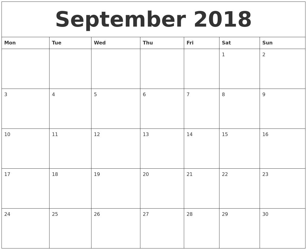 Picture Blank Calendar Calendars Organize Free Printable Calendar Free September 2018 Blank Monthly Calendar Template