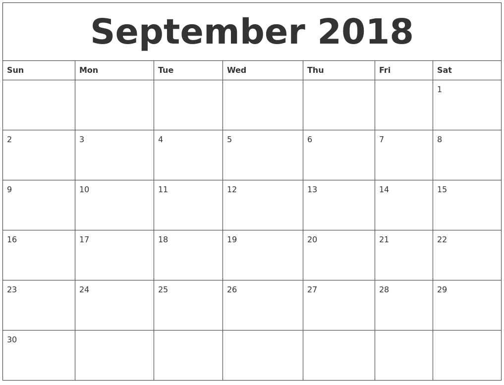 August 2018 Printable Calendar Pages