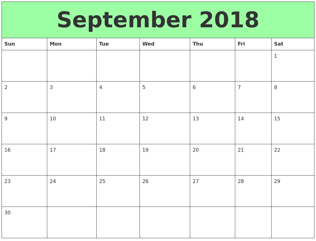 Printable Calendars September Free Printable September 2018 Calendars Waterproof Paper February 2019 Calendar Printable