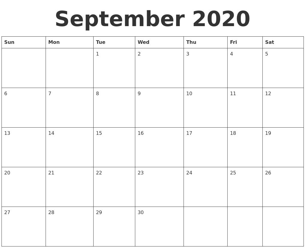 Printable Calendars September Printable Calendar Time And Date June 2020 Free Calendar