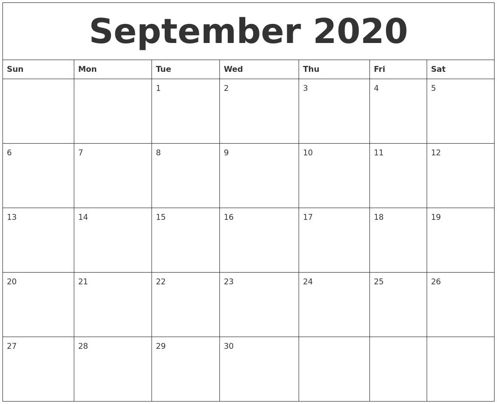 Calendar Blank Blank Calendar 2018 Template Free Printable Blank Monthly September 2020 Calendar Blank