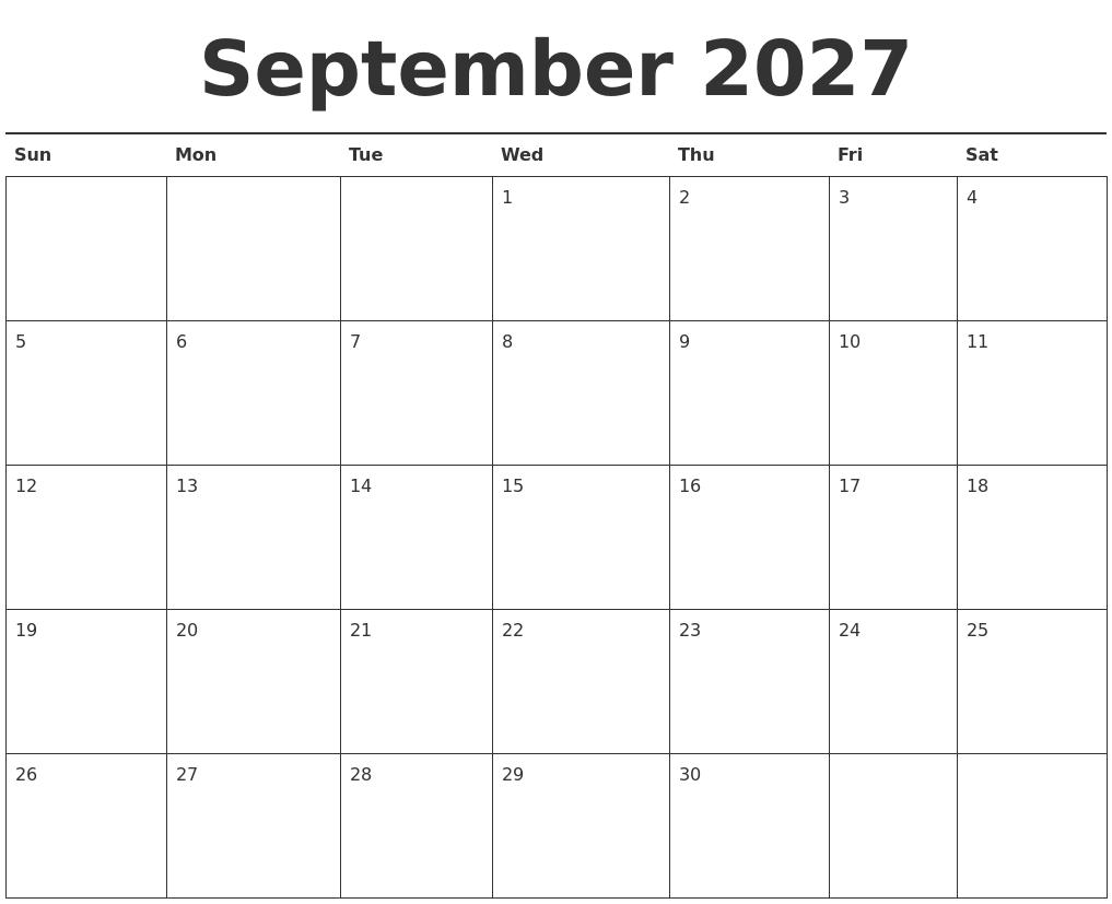 Printable Calendars September September 2018 Printable Calendar Icalendars October 2027 Calendars Free