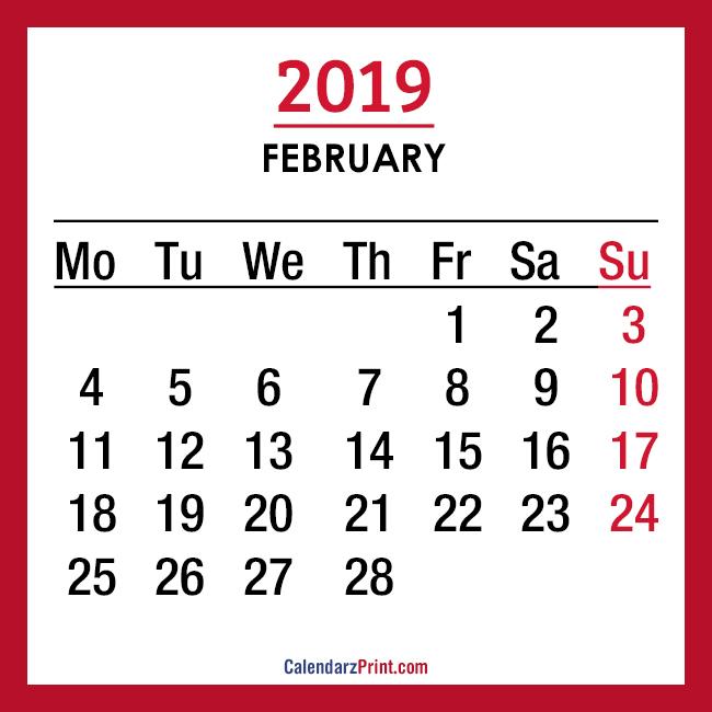 2019 Calendar \u2013 Printable \u2013 Monthly Calendar \u2013 Free \u2013 Monday Start