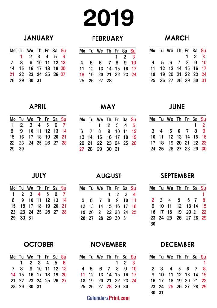 High Resolution Calendars Monday Start \u2013 CalendarzPrint Free