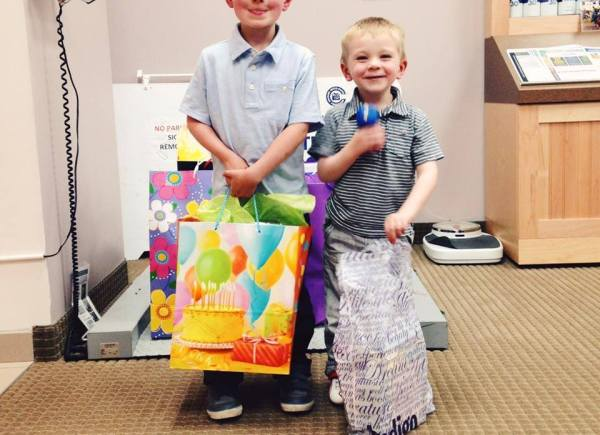 These brothers have birthdays very close together and decided to collect presents for food bank kids at their joint birthday, instead of asking for presents of their own! They were so proud and so were we.