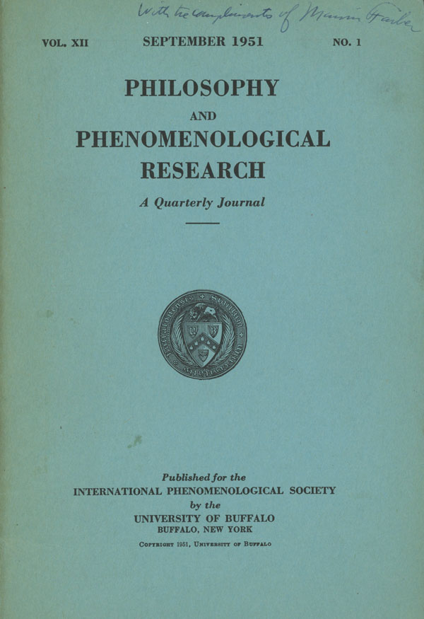 Philosophy and Phenomenological Research Vol XII, No 1 September