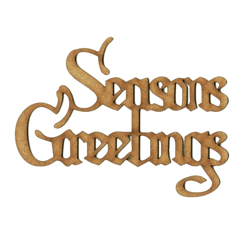 Seasons Greetings - Wood Word cut outs in Christmas Card font - christmas card word