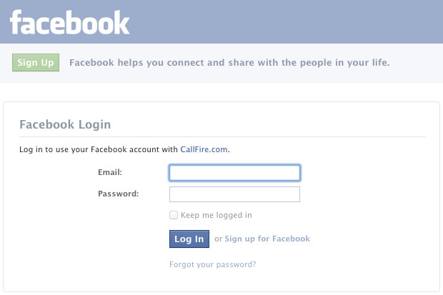 Log in with Facebook CallFire