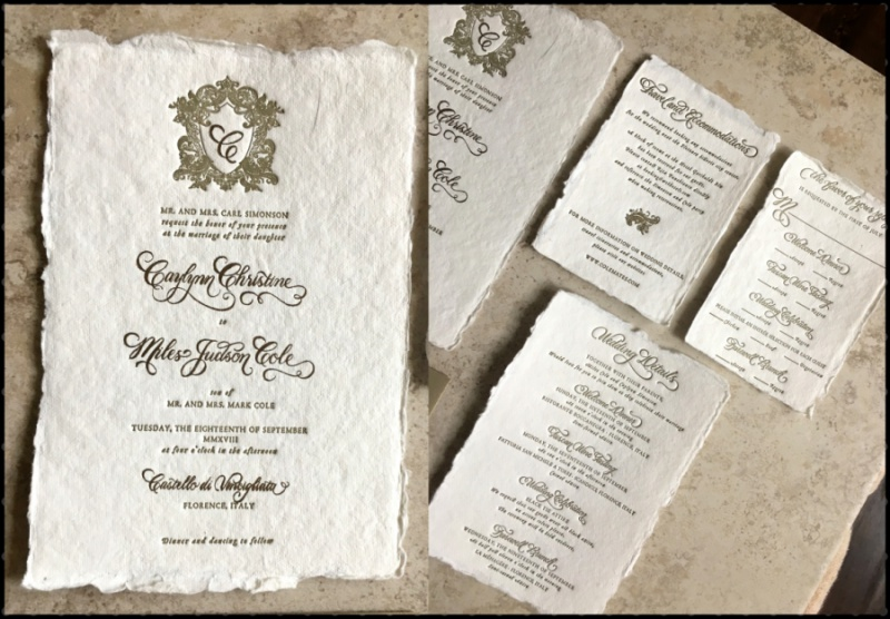 Custom Calligraphy Letterpress Wedding Invitations - Calligraphy by