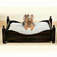Black Wash Wood Dog Bed