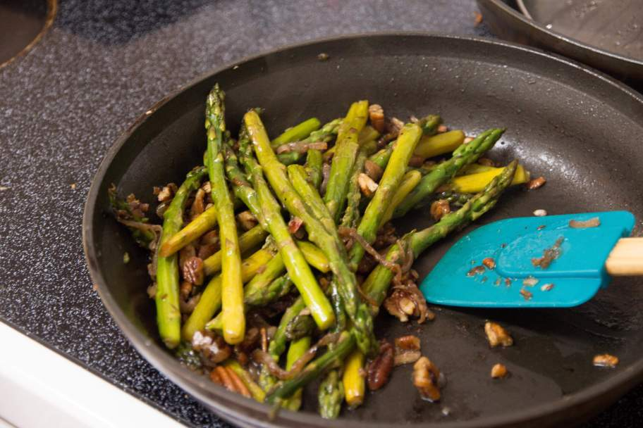 Sauteed Asparagus with pecans and shallots from Call Me Betty, delicious veggie side dish! callmebetty.com