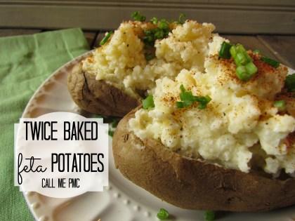 Twice Baked Feta Potatoes via CallMePMc.com