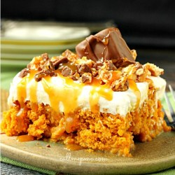 Skinny Pumpkin Snickers Poke Cake with Whipped Cream Frosting