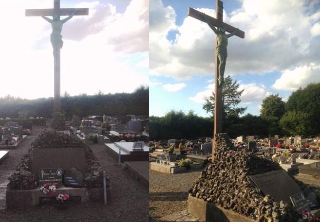 Calvaire au cimetière dédié à la sépulture des prêtres. (Voir plaque ci-dessous)