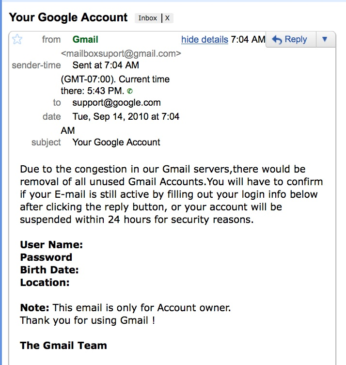 Gmail Phishing Attack