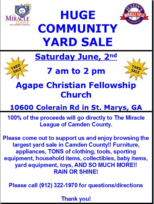 3rd Annual Community Yard Sale is THIS SATURDAY!!! » Miracle League