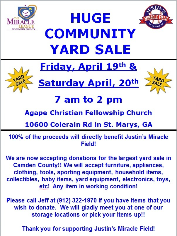 Yard Sale Flyer 2013 » Miracle League of Camden County