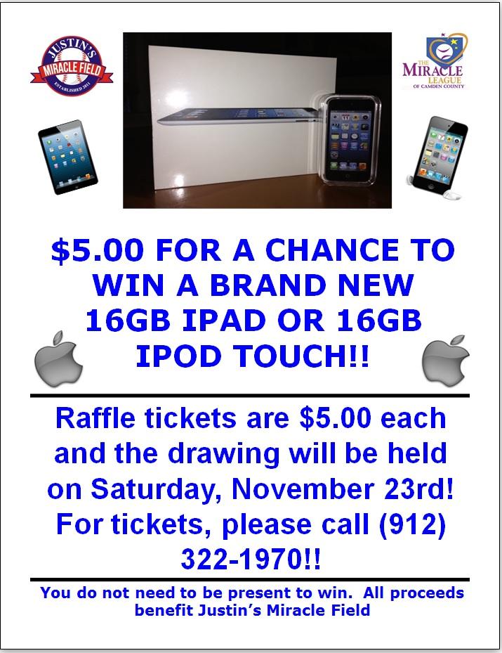 IPAD Raffle Flyer » Miracle League of Camden County