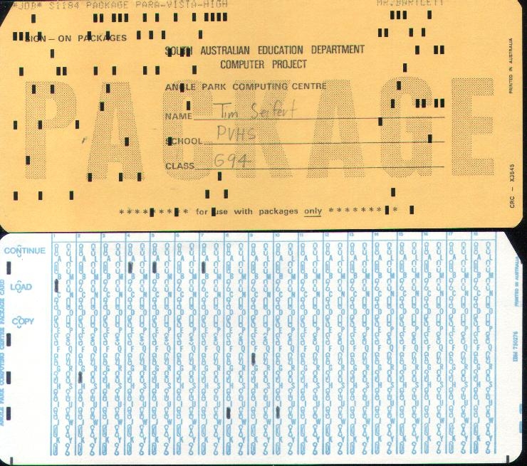 Computer cards - punch cards