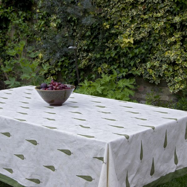 Block Printed Cotton Tablecloth \u2013 Small Green Cypress Trees with - solid green border