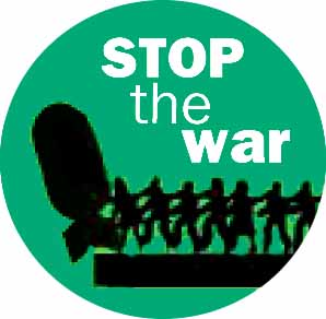 Stop the war – pushing bomb