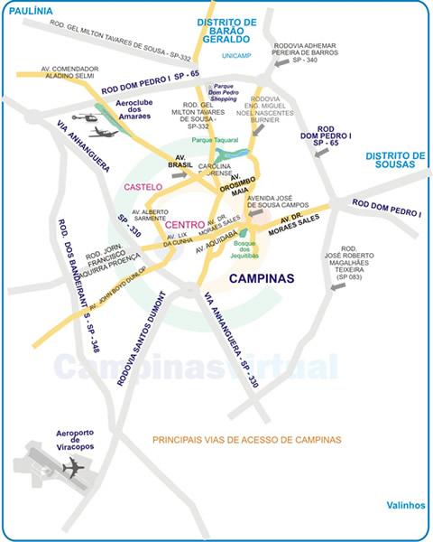Principais Vias De Acesso De Campinas