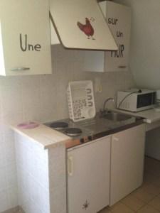 Cuisine équipée avec frigo,plaque, micro-onde et cafetière