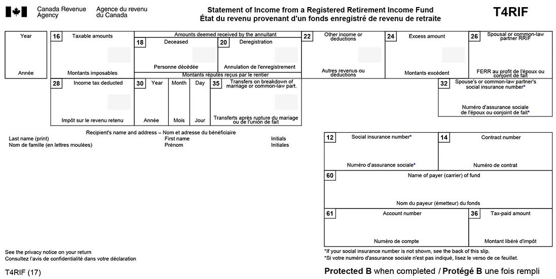 T4RIF Statement of Income from a Registered Retirement Income Fund