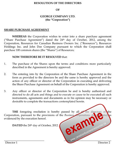 Prepare a Directors Resolution to Approve an Agreement - sample blanket purchase agreement template