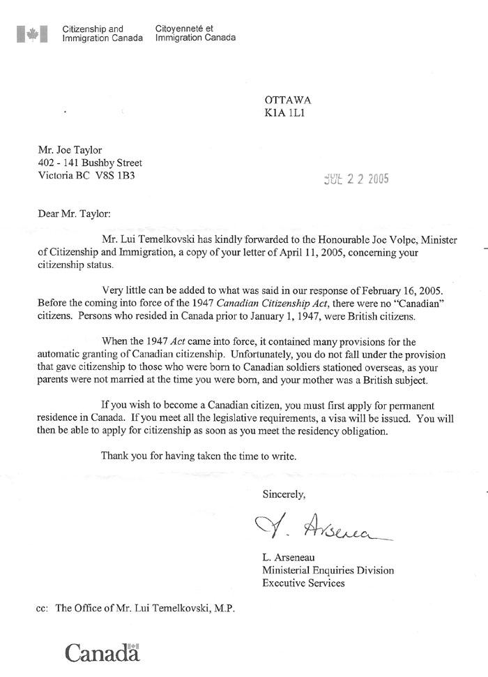 Cover Letter For Citizenship