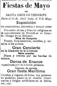 Anuncio de Danza de los Enenos. Diario de Tenerife 18 de abril de 1892