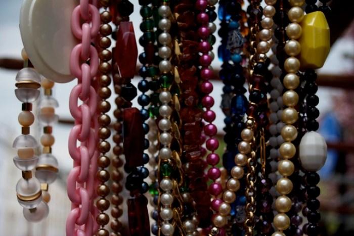 Beaded necklaces in Portobello Market