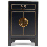 Black Oriental Style Storage Cabinet|Bedside Table ...