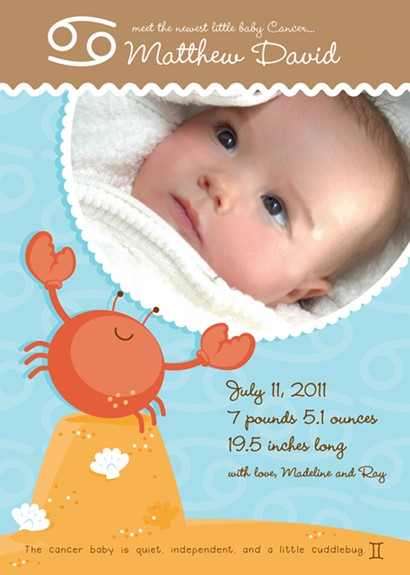 Crab Cancer Horoscope Photo Birth Announcement Cards
