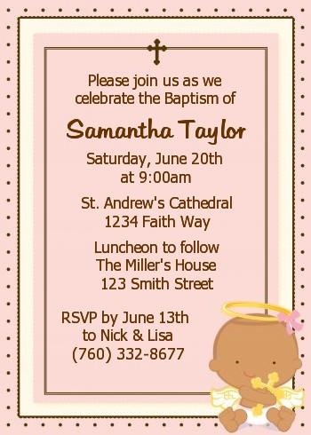 Angel Baby Girl Hispanic Baptism / Christening Invitations Candles