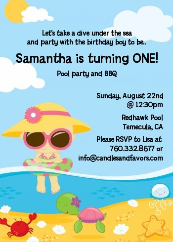 Beach Girl Birthday Party Invitations Candles and Favors - girl birthday party invitations