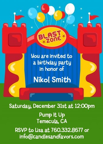 Bounce House Birthday Party Invitations Candles and Favors