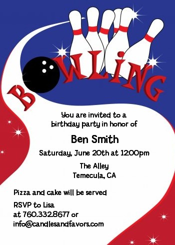 Bowling Boy Birthday Party Invitations Candles and Favors