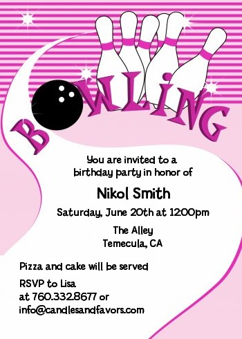 Bowling Girl Birthday Party Invitations Candles and Favors