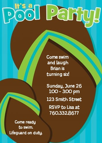 Flip Flops Boy Pool Party Birthday Party Invitations Candles and