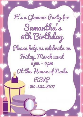 Glamour Girl Birthday Party Invitations Candles and Favors - girl birthday party invitations