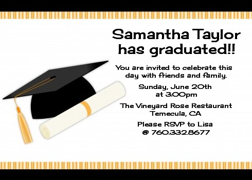 Graduation Cap Graduation Party Invitations Candles and Favors - graduation party invitations