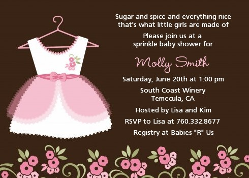 Little Girl Outfit Baby Shower Invitations Candles and Favors - baby girl invitation