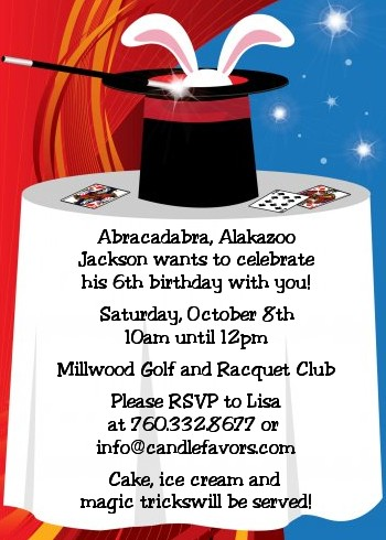 Magic Birthday Party Invitations Candles and Favors