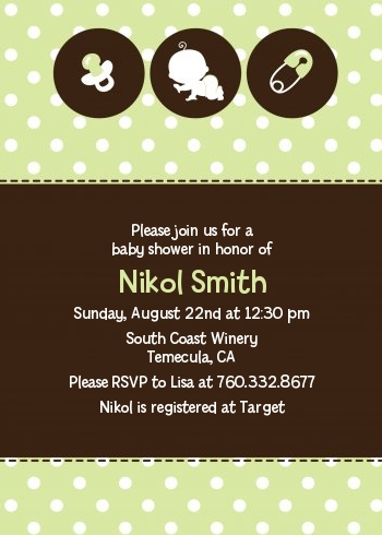 Modern Baby Green Polka Dots Baby Shower Invitations Candles and