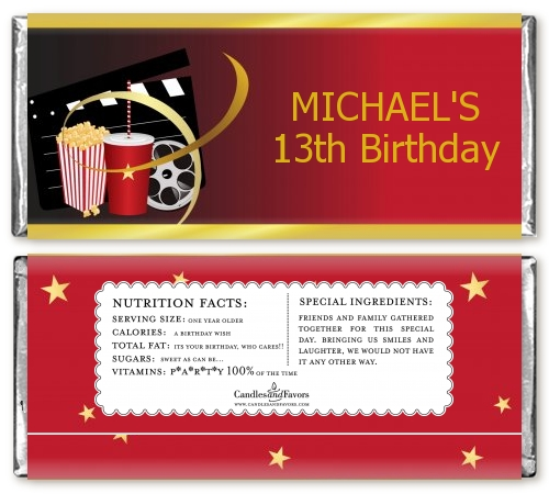 Movie Night Birthday Party Candy Bar Wrappers Candles  Favors - hershey wrappers
